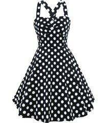 cross back polka dot vintage dress