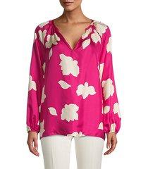 floral v-neck silk blouse