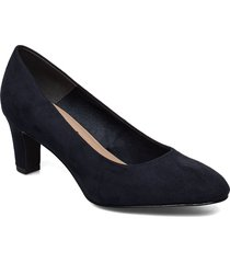 woms court shoe shoes heels pumps classic blå tamaris
