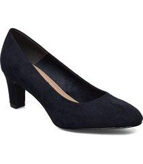 woms court shoe shoes heels pumps classic blå tamaris