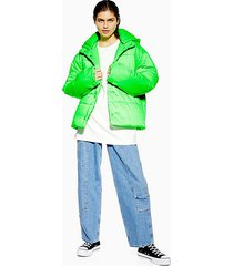 *nylon padded puffer jacket by topshop boutique - fluro green