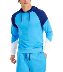 ax armani exchange men's simply blue colorblocked hoodie, created for macy's