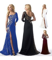 elegant women lady lace stitching cocktail dress sexy one shoulder evening maxi