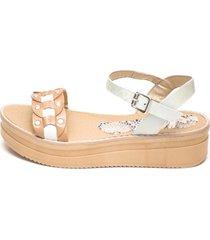 sandalia de cuero blanco valentia calzados aruna