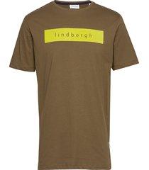 logo flock print tee s/s t-shirts short-sleeved grön lindbergh