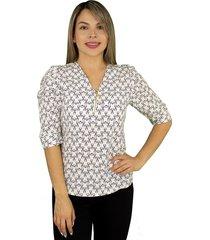 elvira burgos - blusa para dama de moda en chalis poliéster con cremallera - ref 77172300– blanco