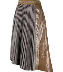andersson bell panelled pleated skirt - green