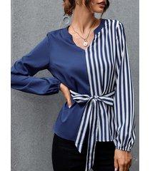 camicetta da donna a maniche lunghe con scollo a v a righe a contrasto colore cintura