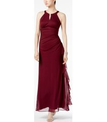 betsy & adam petite ruched embellished gown
