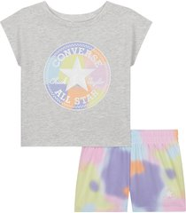 converse conjunto de pantalón corto aop blur chuck pastel blur