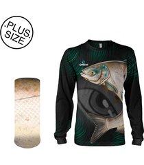 camisa + máscara pesca quisty carpa cabeçuda proteção uv dryfit plus size - camiseta de pesca quisty