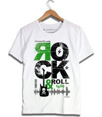 camiseta rock in roll branca - branco - masculino - algodã£o - dafiti