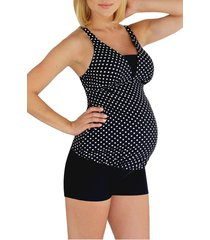 women's mermaid maternity polka dot tankini top, size large - black