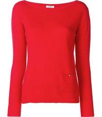 liu jo boat neck sweater - red