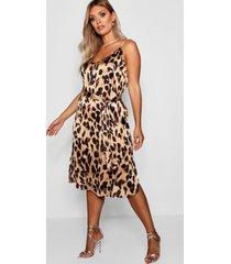 plus luipaardprint libby midi jurk met bandjes, brown