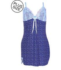 camisola vip lingerie liganete estampada azul