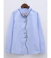 camicia a manica lunga con colletto rovesciato girocollo da donna