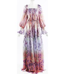 peter pilotto 2019 floral liquid organza gown pink/multicolor/floral print sz: l