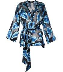 alice+olivia rosario printed kimono topwide long - blue