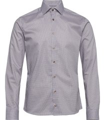 blue micro flower shirt overhemd business multi/patroon eton