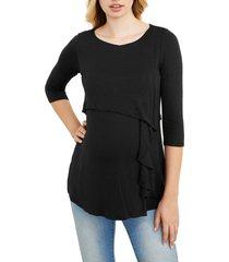 women's maternal america cascade ruffle front maternity/nursing top, size x-small - black