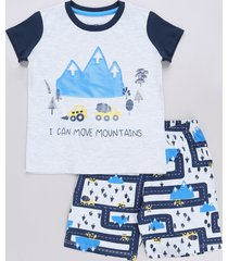 pijama infantil carrinhos manga curta cinza