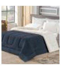 coberdrom londres casal queen sherpa/manta soft azul marinho