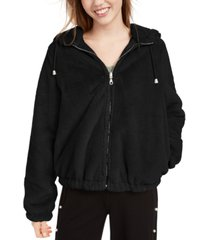 maralyn & me juniors' reversible cropped hooded faux-fur coat