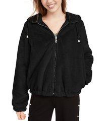 maralyn & me juniors' reversible cropped hooded faux-fur coat