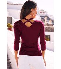 camiseta de manga larga con cuello en v y manga larga para mujer.-rojo