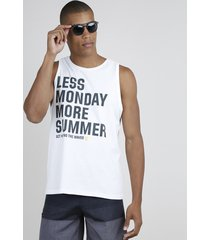 "regata masculina ""less monday more summer"" gola careca off white"