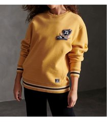 superdry women's contemporary varsity chenielle crew sweatshirt
