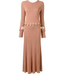 dion lee v-back braided dress - pink