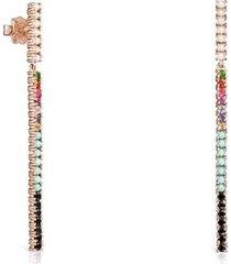 aretes largos straight barra de oro vermeil rosa con gemas 912726530