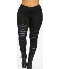 plus size galaxy ripped skinny leggings
