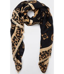 river island womens brown leopard print monogram scarf