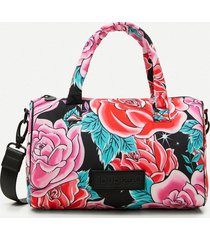 mini briefcase small bag flowers - red - u