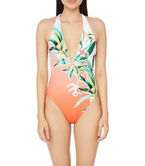women's trina turk costa de prata floral plunge one-piece swimsuit