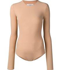 maison margiela long sleeved bodysuit - brown