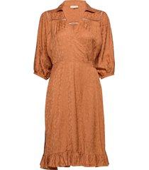 bubble jacquard skirt knälång klänning orange by ti mo