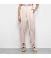 calça cenoura morena rosa estampada cintura alta feminina