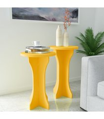 mesas de canto conjunto 2 peças luck 100% mdf amarelo - artely