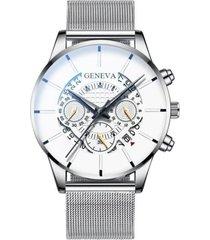 reloj pulso acero hombre cuarzo calendario 1753 plateado blanco