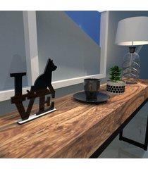 escultura de mesa adorno preto love dog amo cachorros único