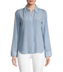 l'agence women's maggie stripe silk blouse - sky blue - size l