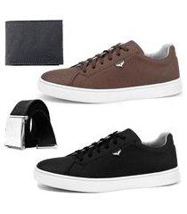 sapatenis casual dhl calçados kit 171 preto marrom