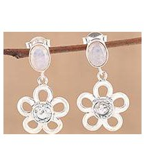 blue topaz and rainbow moonstone dangle earrings, 'azure flower' (india)