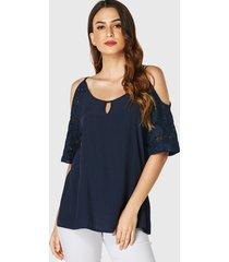 yoins blusa azul marino con hombros descubiertos y medias mangas