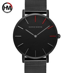 reloj de malla de acero inoxidable para hombre-negro