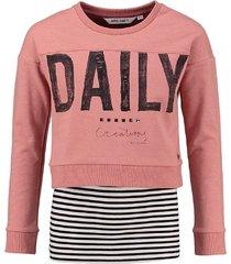 garcia korte roze sweater met top eronder
